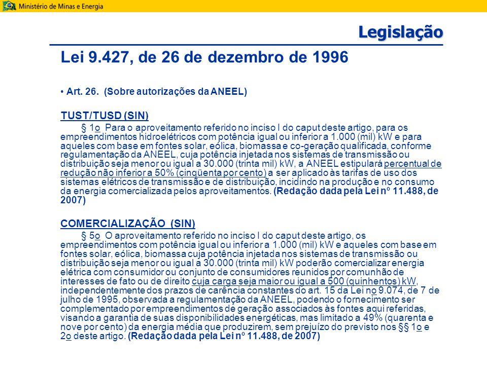 Legislação Lei 9.427, de 26 de dezembro de 1996 Art.