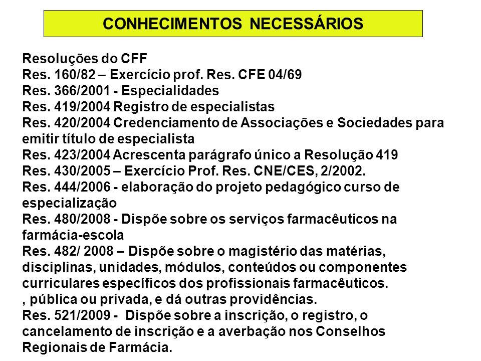 CONHECIMENTOS NECESSÁRIOS Resoluções do CFF Res. 160/82 – Exercício prof. Res. CFE 04/69 Res. 366/2001 - Especialidades Res. 419/2004 Registro de espe