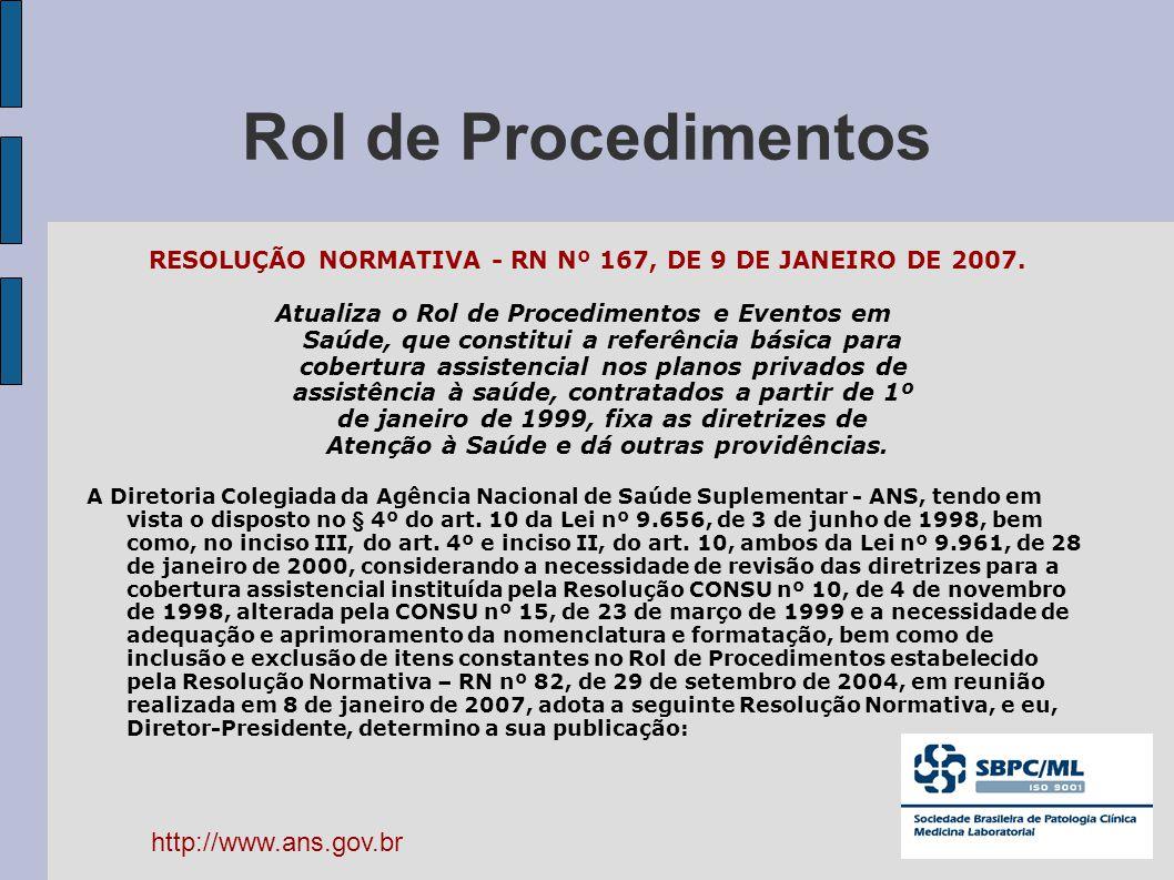 Rol de Procedimentos RESOLUÇÃO NORMATIVA - RN Nº 167, DE 9 DE JANEIRO DE 2007. Atualiza o Rol de Procedimentos e Eventos em Saúde, que constitui a ref