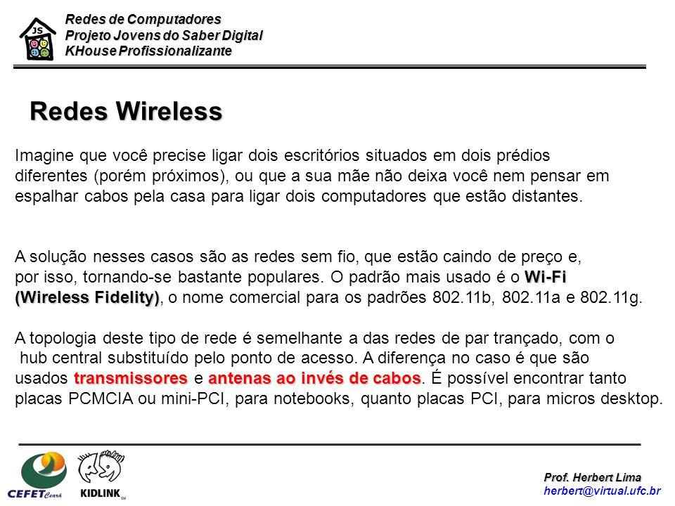 Redes de Computadores Projeto Jovens do Saber Digital KHouse Profissionalizante Prof. Herbert Lima herbert@virtual.ufc.br Redes Wireless Imagine que v