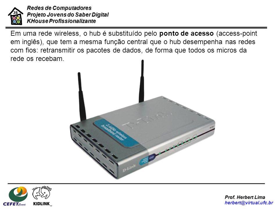 Redes de Computadores Projeto Jovens do Saber Digital KHouse Profissionalizante Prof. Herbert Lima herbert@virtual.ufc.br Em uma rede wireless, o hub