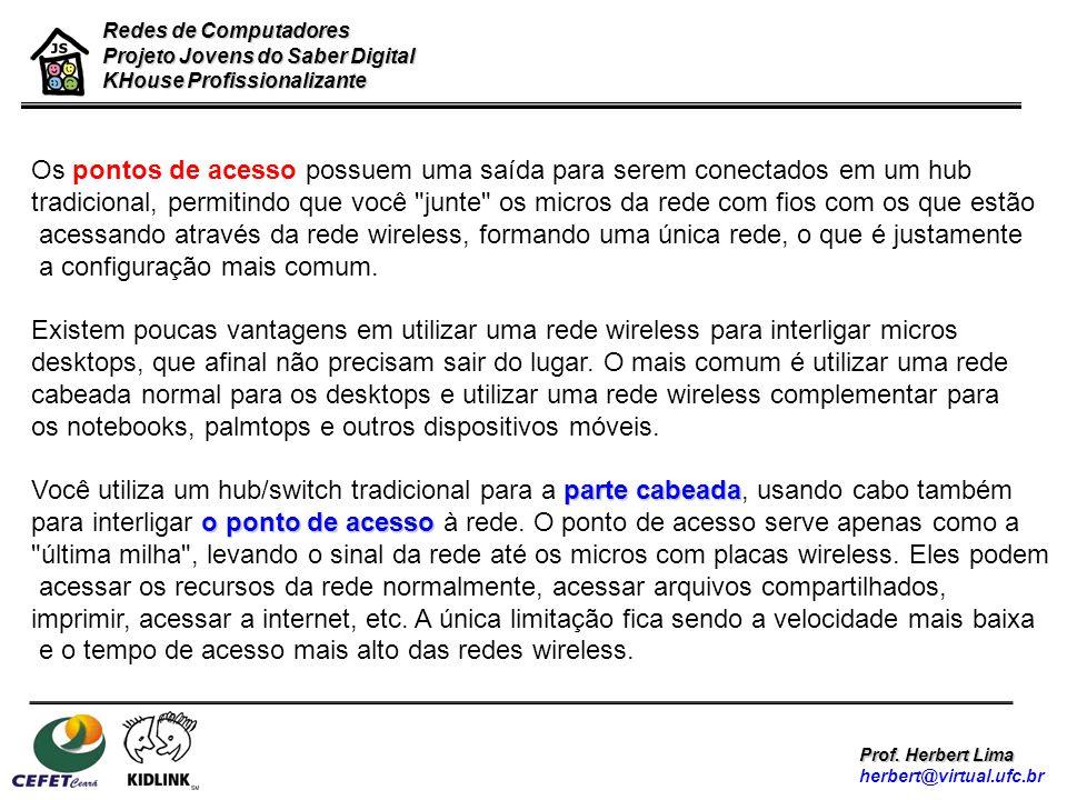 Redes de Computadores Projeto Jovens do Saber Digital KHouse Profissionalizante Prof. Herbert Lima herbert@virtual.ufc.br Os pontos de acesso possuem