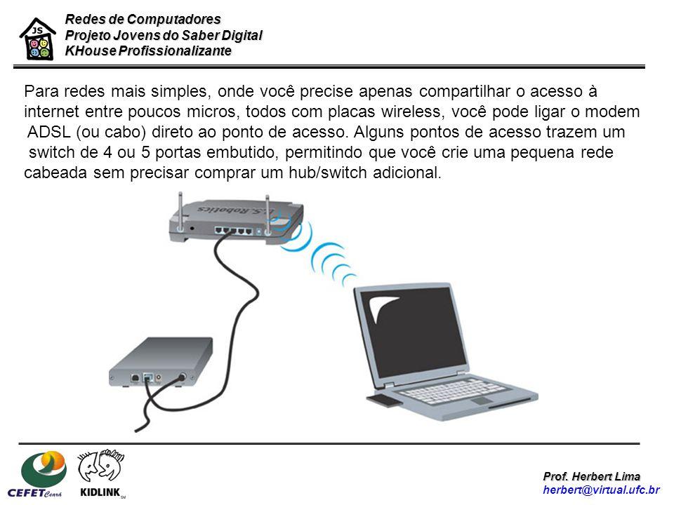 Redes de Computadores Projeto Jovens do Saber Digital KHouse Profissionalizante Prof. Herbert Lima herbert@virtual.ufc.br Para redes mais simples, ond