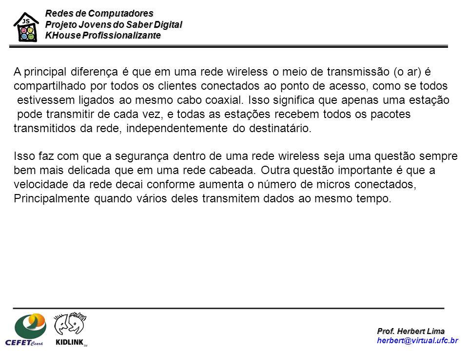 Redes de Computadores Projeto Jovens do Saber Digital KHouse Profissionalizante Prof. Herbert Lima herbert@virtual.ufc.br A principal diferença é que