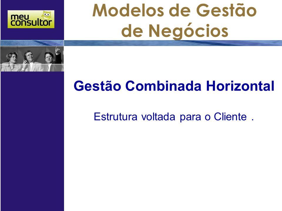 Modelos de Gestão de Negócios Gestão Combinada Horizontal Estrutura voltada para o Cliente.