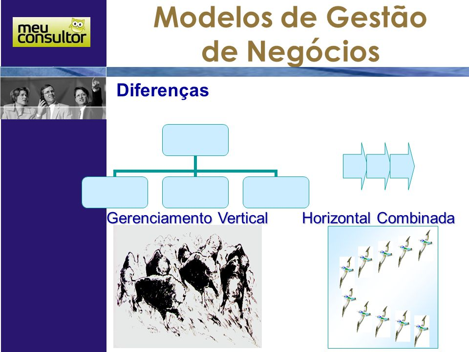 Modelos de Gestão de Negócios Gerenciamento Vertical Diferenças Horizontal Combinada