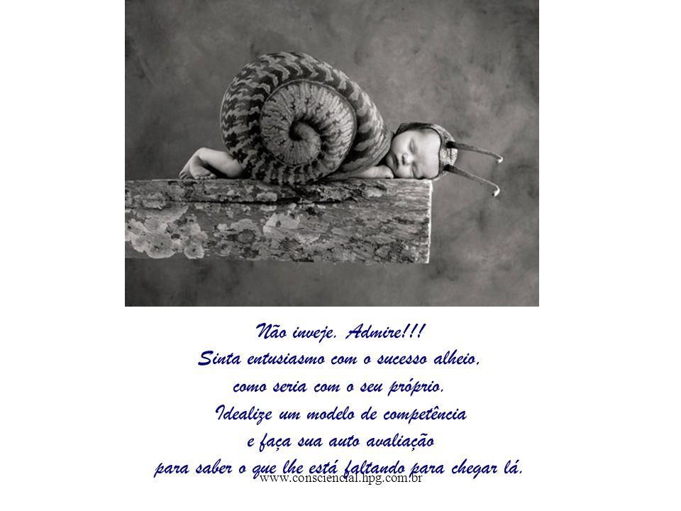 www.consciencial.hpg.com.br Não inveje. Admire!!! Sinta entusiasmo com o sucesso alheio, como seria com o seu próprio. Idealize um modelo de competênc