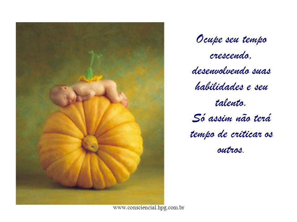 www.consciencial.hpg.com.br Ocupe seu tempo crescendo, desenvolvendo suas habilidades e seu talento. Só assim não terá tempo de criticar os outros.