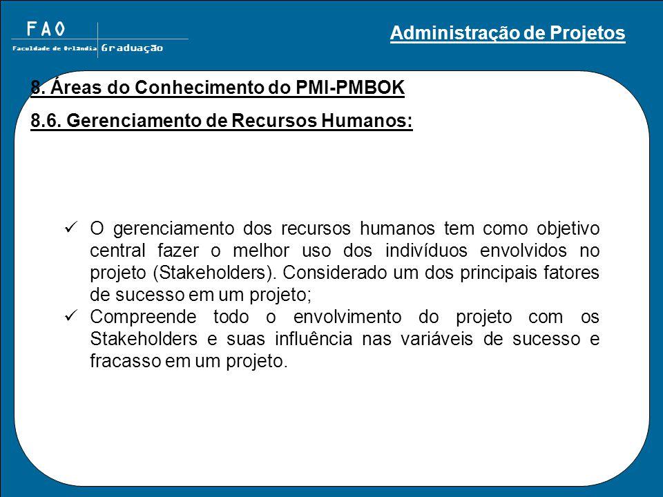 FAO Faculdade de Orlândia Graduação 8. Áreas do Conhecimento do PMI-PMBOK 8.6. Gerenciamento de Recursos Humanos: O gerenciamento dos recursos humanos