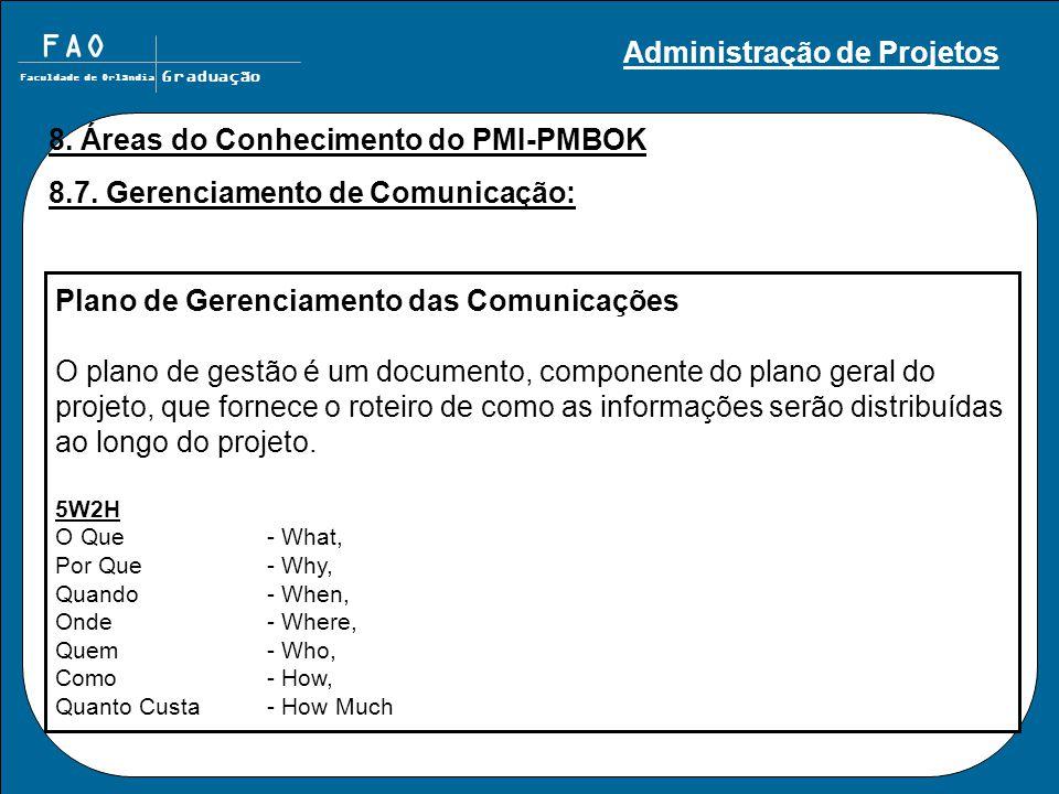 FAO Faculdade de Orlândia Graduação 8. Áreas do Conhecimento do PMI-PMBOK 8.7. Gerenciamento de Comunicação: Plano de Gerenciamento das Comunicações O