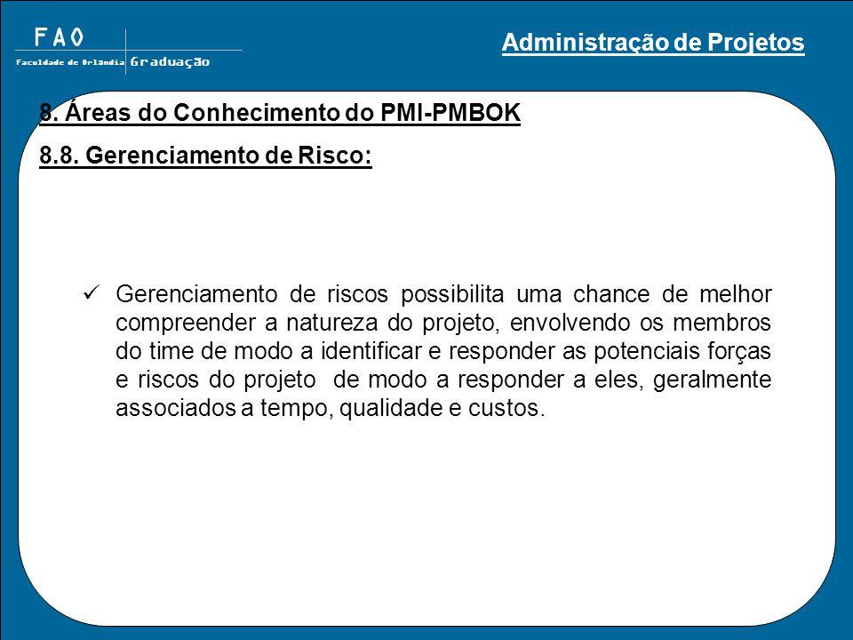 FAO Faculdade de Orlândia Graduação 8. Áreas do Conhecimento do PMI-PMBOK 8.8. Gerenciamento de Risco: Gerenciamento de riscos possibilita uma chance