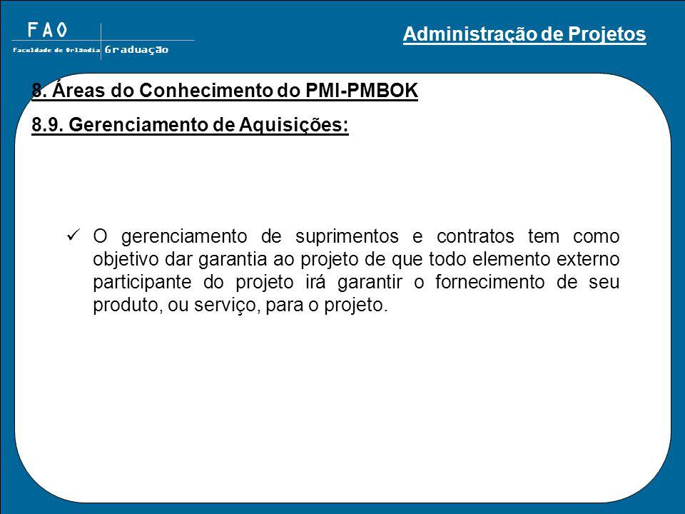 FAO Faculdade de Orlândia Graduação 8. Áreas do Conhecimento do PMI-PMBOK 8.9. Gerenciamento de Aquisições: O gerenciamento de suprimentos e contratos