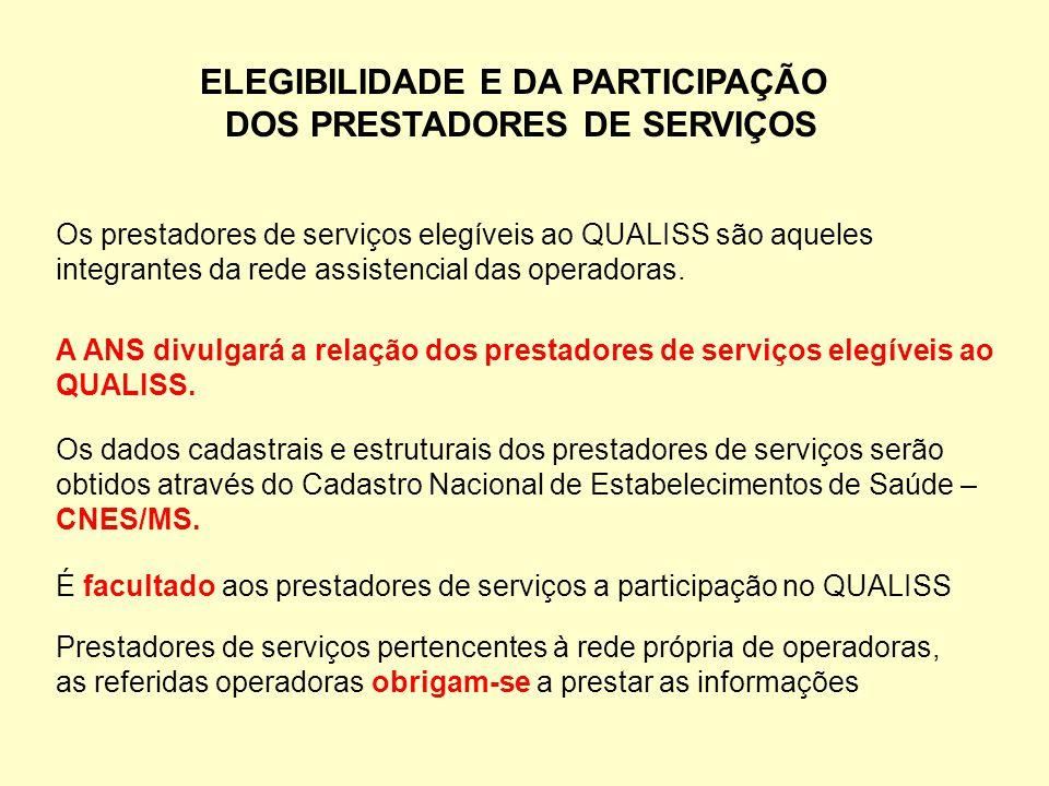 ELEGIBILIDADE E DA PARTICIPAÇÃO DOS PRESTADORES DE SERVIÇOS Os prestadores de serviços elegíveis ao QUALISS são aqueles integrantes da rede assistenci