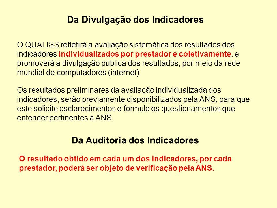 Da Divulgação dos Indicadores O QUALISS refletirá a avaliação sistemática dos resultados dos indicadores individualizados por prestador e coletivament