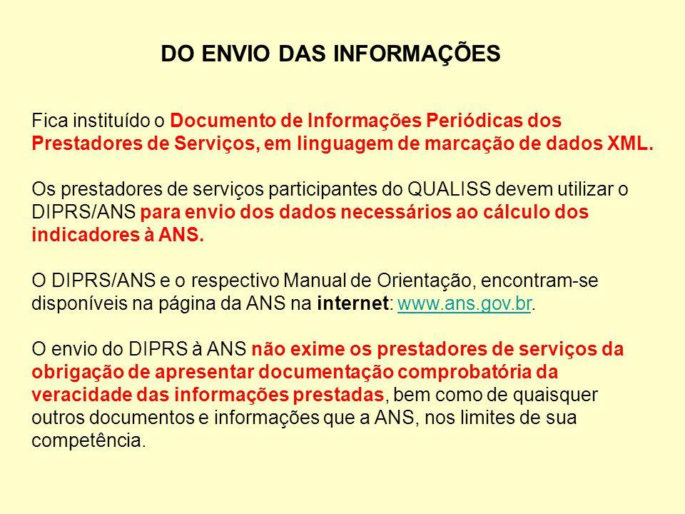 DO ENVIO DAS INFORMAÇÕES Fica instituído o Documento de Informações Periódicas dos Prestadores de Serviços, em linguagem de marcação de dados XML. Os