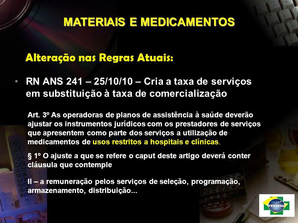 Alteração nas Regras Atuais: RN ANS 241 – 25/10/10 – Cria a taxa de serviços em substituição à taxa de comercialização MATERIAIS E MEDICAMENTOS Art. 3