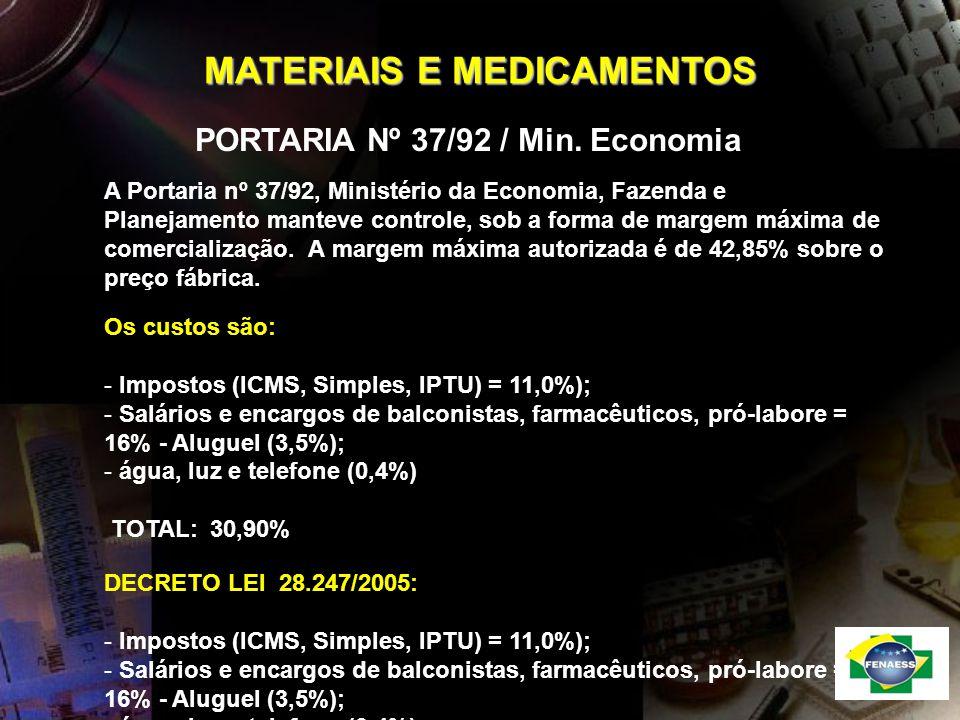 MATERIAIS E MEDICAMENTOS PORTARIA Nº 37/92 / Min. Economia A Portaria nº 37/92, Ministério da Economia, Fazenda e Planejamento manteve controle, sob a