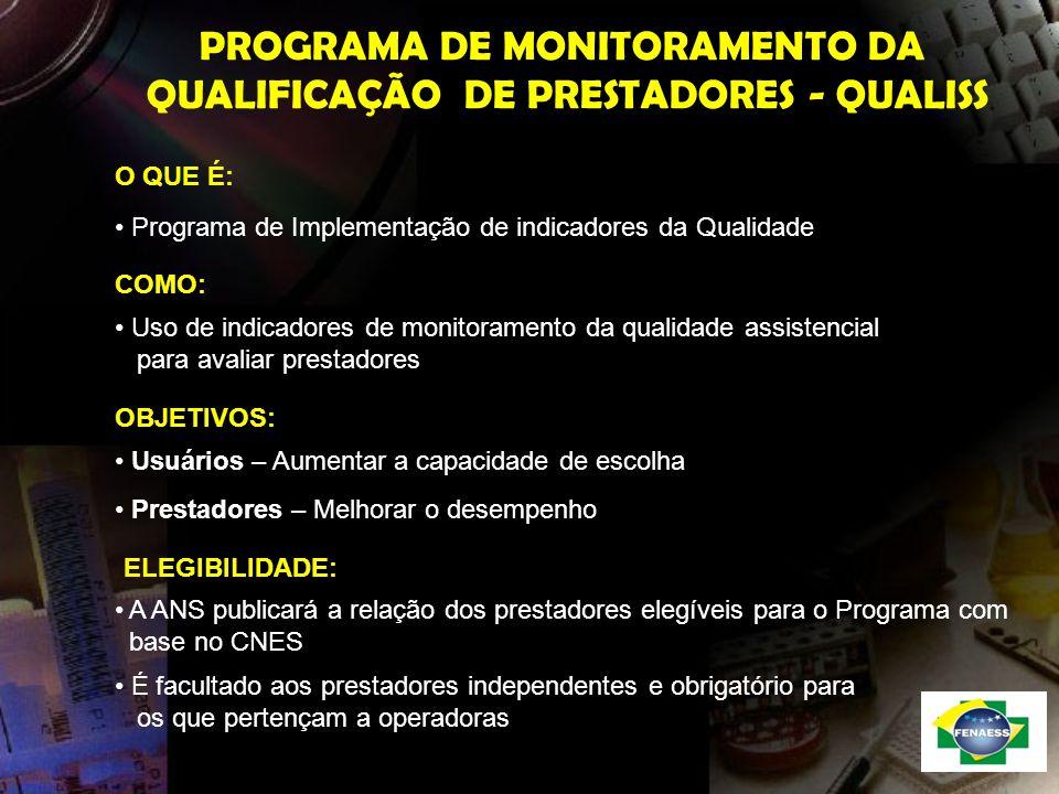 PROGRAMA DE MONITORAMENTO DA QUALIFICAÇÃO DE PRESTADORES - QUALISS O QUE É: Programa de Implementação de indicadores da Qualidade Uso de indicadores d