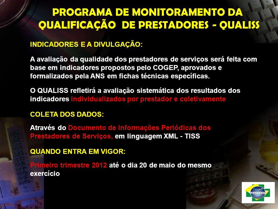 PROGRAMA DE MONITORAMENTO DA QUALIFICAÇÃO DE PRESTADORES - QUALISS INDICADORES E A DIVULGAÇÃO: A avaliação da qualidade dos prestadores de serviços se