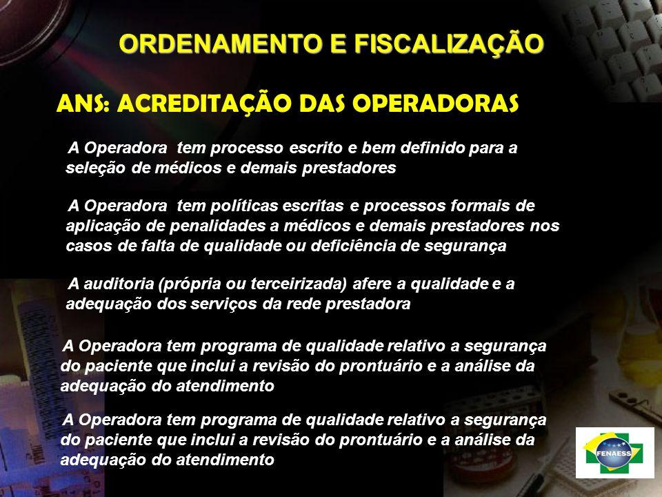 ORDENAMENTO E FISCALIZAÇÃO ANS: ACREDITAÇÃO DAS OPERADORAS A Operadora tem políticas escritas e processos formais de aplicação de penalidades a médico