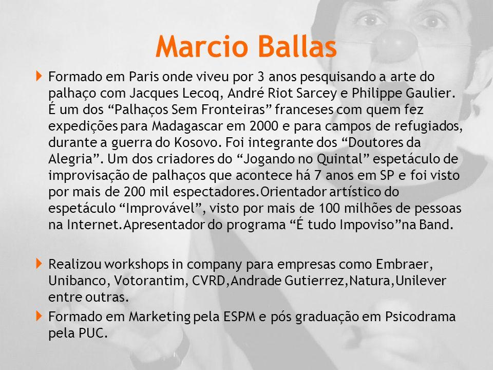 Marcio Ballas  Formado em Paris onde viveu por 3 anos pesquisando a arte do palhaço com Jacques Lecoq, André Riot Sarcey e Philippe Gaulier.