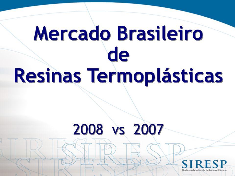 Mercado Brasileiro de Resinas Termoplásticas 2008 vs 2007 Mercado Brasileiro de Resinas Termoplásticas 2008 vs 2007