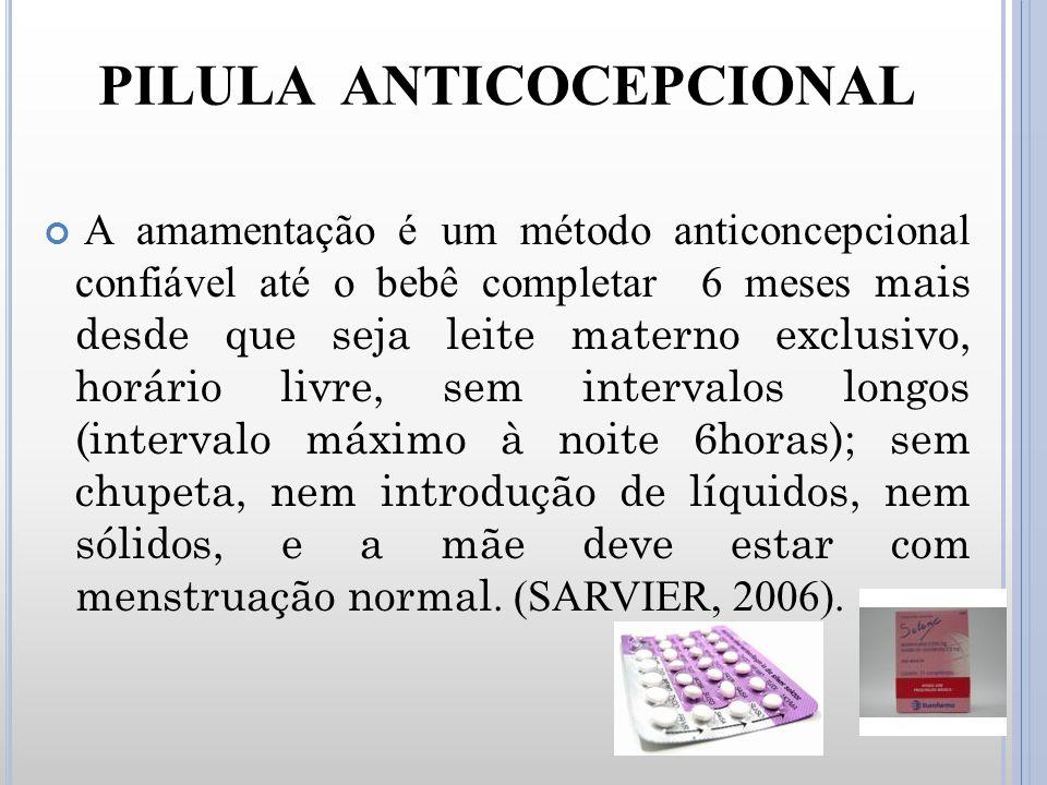 PILULA ANTICOCEPCIONAL A amamentação é um método anticoncepcional confiável até o bebê completar 6 meses mais desde que seja leite materno exclusivo,