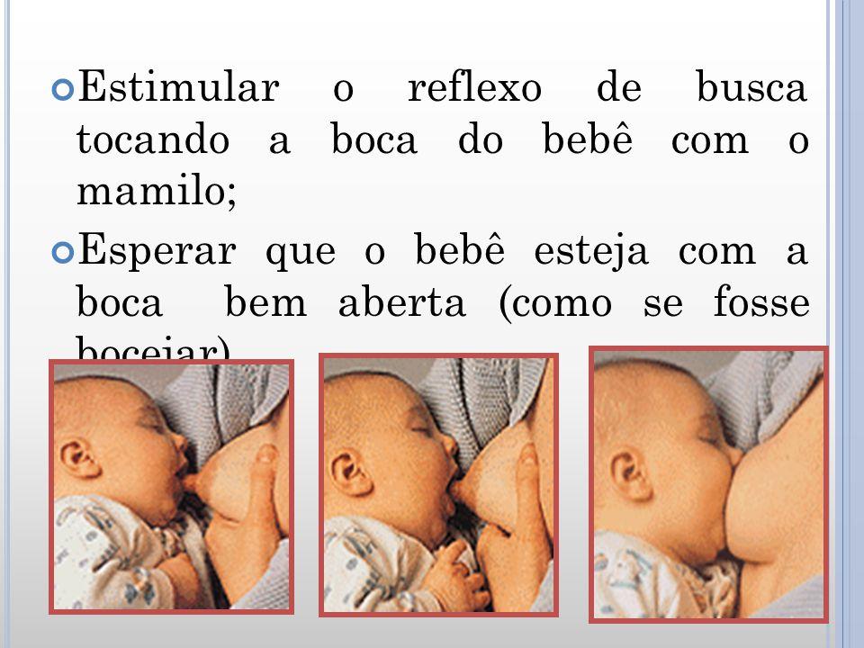 Estimular o reflexo de busca tocando a boca do bebê com o mamilo; Esperar que o bebê esteja com a boca bem aberta (como se fosse bocejar).