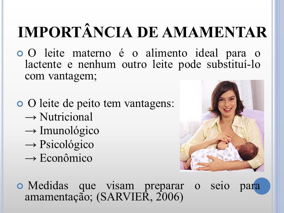 IMPORTÂNCIA DE AMAMENTAR O leite materno é o alimento ideal para o lactente e nenhum outro leite pode substituí-lo com vantagem; O leite de peito tem