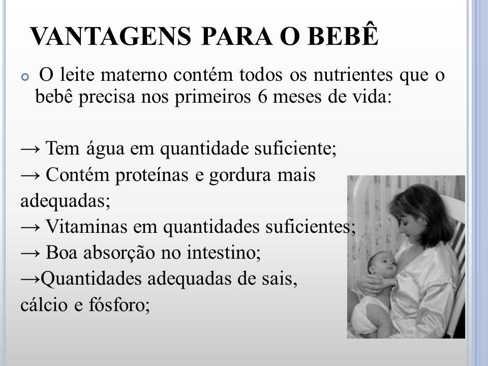 O leite materno contém todos os nutrientes que o bebê precisa nos primeiros 6 meses de vida: → Tem água em quantidade suficiente; → Contém proteínas e