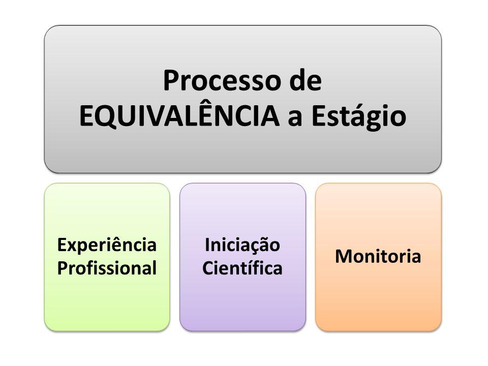 Processo de EQUIVALÊNCIA a Estágio Experiência Profissional Iniciação Científica Monitoria