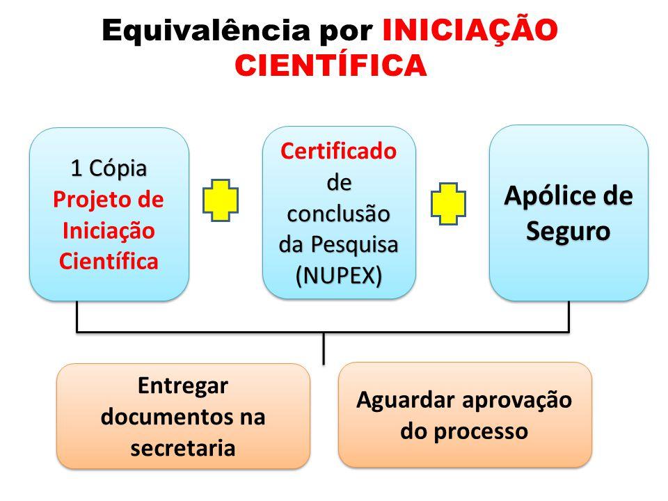 Equivalência por INICIAÇÃO CIENTÍFICA 1 Cópia Projeto de Iniciação Científica 1 Cópia Projeto de Iniciação Científica de conclusão da Pesquisa Certificado de conclusão da Pesquisa(NUPEX) (NUPEX) Apólice de Seguro Entregar documentos na secretaria Aguardar aprovação do processo