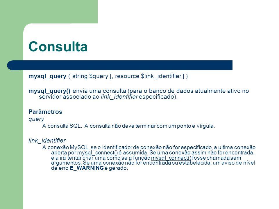 Consulta mysql_query ( string $query [, resource $link_identifier ] ) mysql_query() envia uma consulta (para o banco de dados atualmente ativo no serv