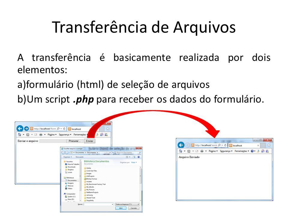 Transferência de Arquivos Todas as configurações referentes a transferência de arquivos estão disponíveis no arquivos de configuração do php: php.ini file_uploads, upload_max_filesize, upload_tmp_dir, post_max_size, max_input_time, max_file_uploads integer,