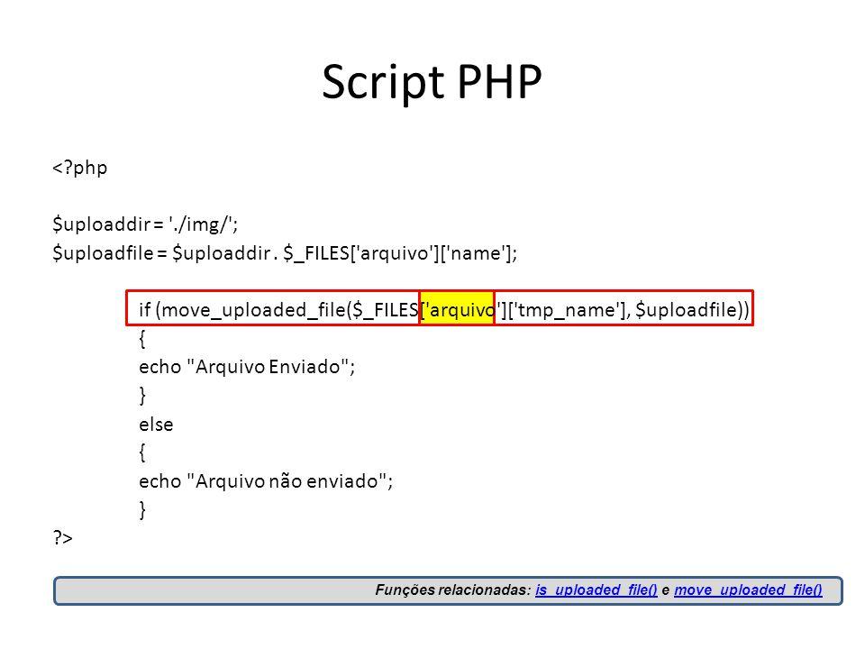 Script PHP < php $uploaddir = ./img/ ; $uploadfile = $uploaddir.