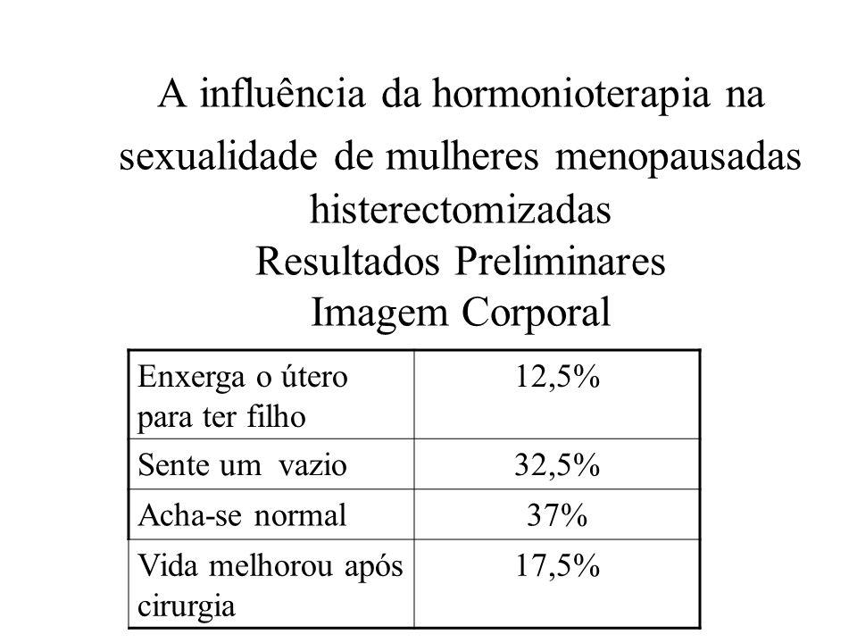 A influência da hormonioterapia na sexualidade de mulheres menopausadas histerectomizadas Resultados Preliminares Imagem Corporal Enxerga o útero para