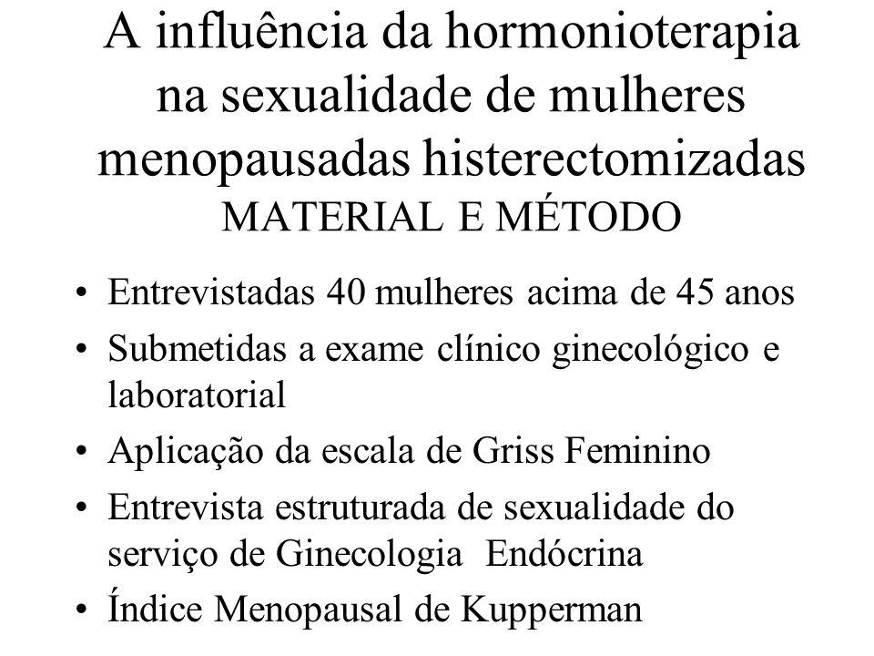 A influência da hormonioterapia na sexualidade de mulheres menopausadas histerectomizadas MATERIAL E MÉTODO Estudo comparativo duplo cego dividido em dois grupos ; Foi administrado Premarin o,625mg por 21 dias, seguindo um intervalo de 7 dias livre Outro grupo placebo por 21 dias com intervalo de 7 dias livres Avaliadas em tres, seis e doze meses