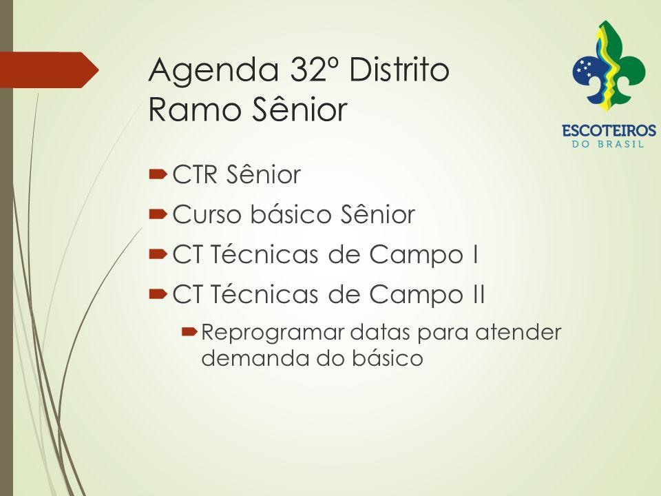 Agenda 32º Distrito Ramo Sênior  CTR Sênior  Curso básico Sênior  CT Técnicas de Campo I  CT Técnicas de Campo II  Reprogramar datas para atender demanda do básico