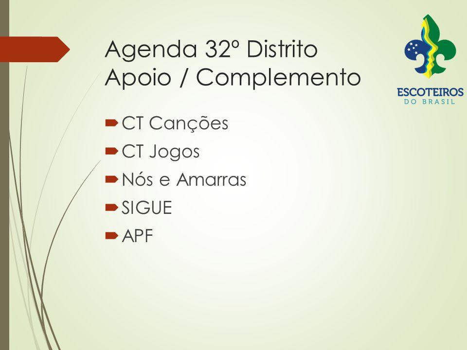 Agenda 32º Distrito Apoio / Complemento  CT Canções  CT Jogos  Nós e Amarras  SIGUE  APF