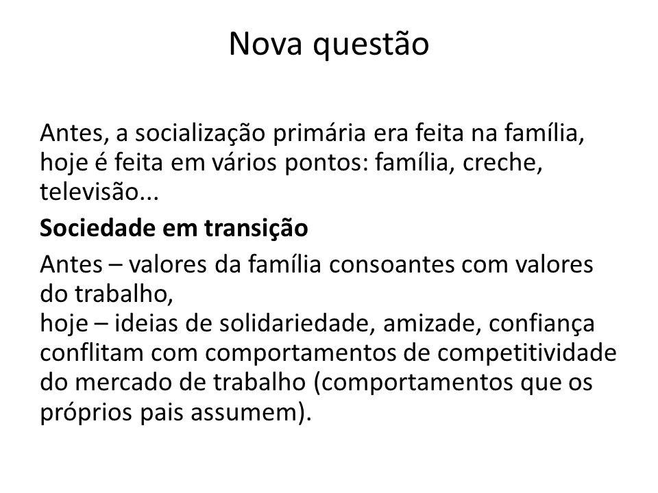 Nova questão Antes, a socialização primária era feita na família, hoje é feita em vários pontos: família, creche, televisão... Sociedade em transição