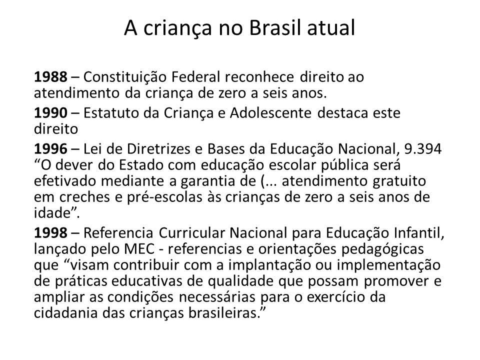 A criança no Brasil atual 1988 – Constituição Federal reconhece direito ao atendimento da criança de zero a seis anos. 1990 – Estatuto da Criança e Ad