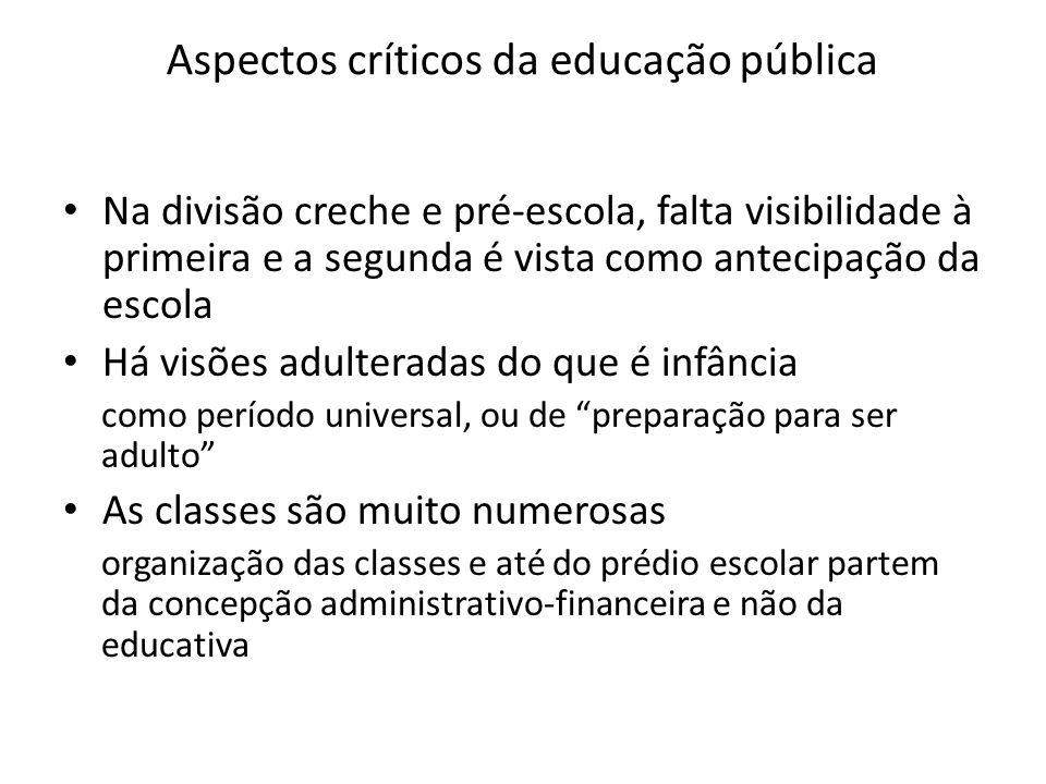 Aspectos críticos da educação pública Na divisão creche e pré-escola, falta visibilidade à primeira e a segunda é vista como antecipação da escola Há