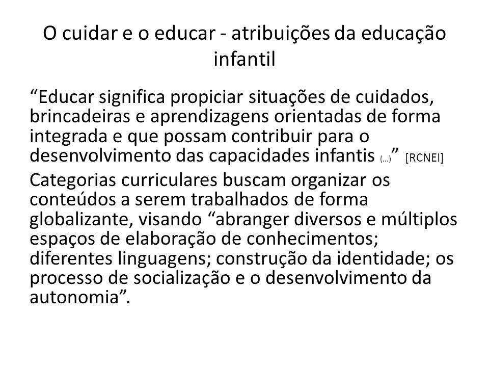 """O cuidar e o educar - atribuições da educação infantil """"Educar significa propiciar situações de cuidados, brincadeiras e aprendizagens orientadas de f"""