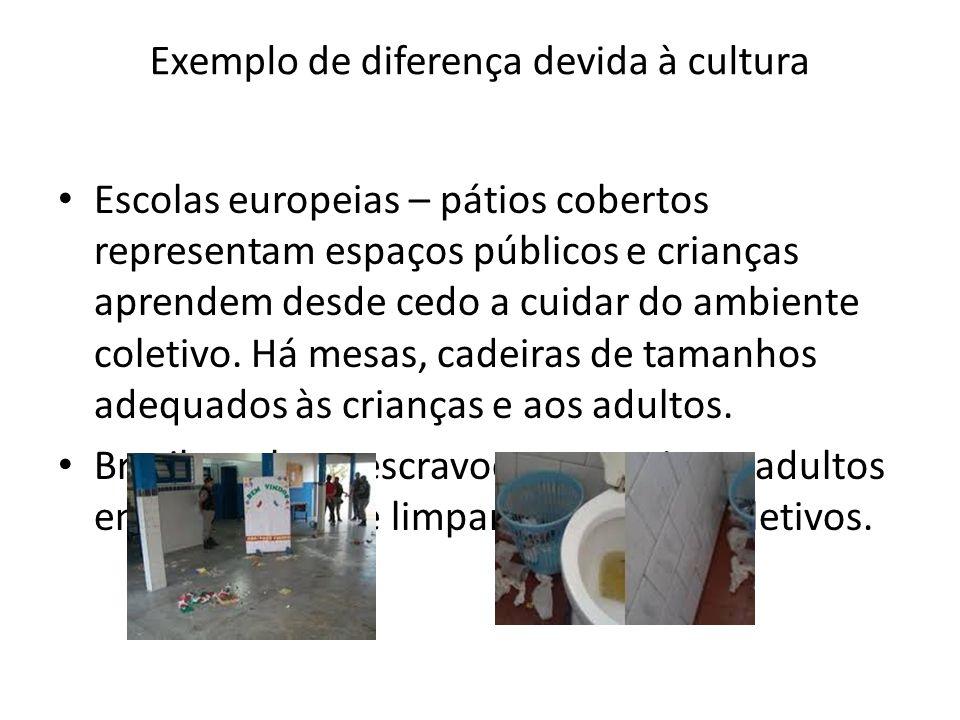 Exemplo de diferença devida à cultura Escolas europeias – pátios cobertos representam espaços públicos e crianças aprendem desde cedo a cuidar do ambi