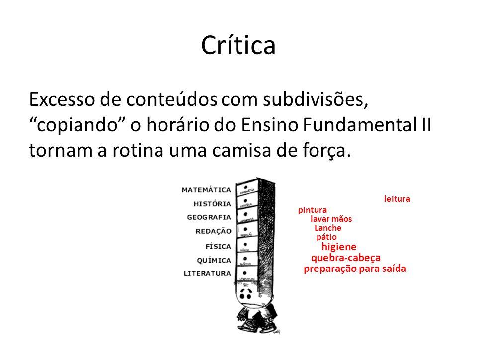 """Crítica Excesso de conteúdos com subdivisões, """"copiando"""" o horário do Ensino Fundamental II tornam a rotina uma camisa de força. leitura pintura lavar"""