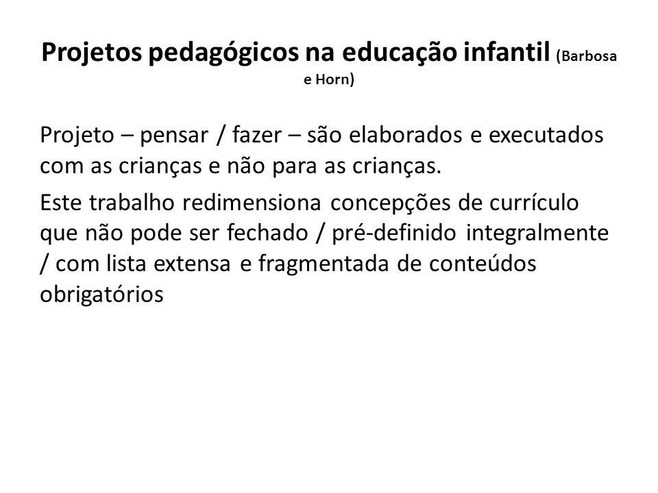 Projetos pedagógicos na educação infantil (Barbosa e Horn) Projeto – pensar / fazer – são elaborados e executados com as crianças e não para as crianças.