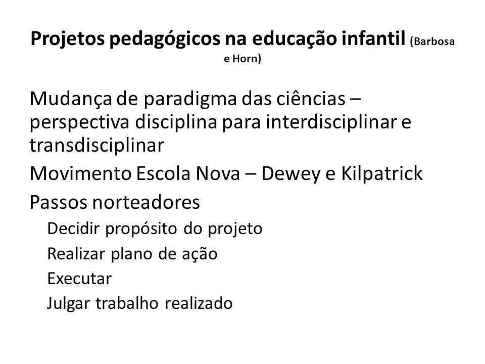 Projetos pedagógicos na educação infantil (Barbosa e Horn) Mudança de paradigma das ciências – perspectiva disciplina para interdisciplinar e transdis
