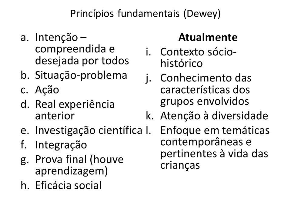 Princípios fundamentais (Dewey) a.Intenção – compreendida e desejada por todos b.Situação-problema c.Ação d.Real experiência anterior e.Investigação c