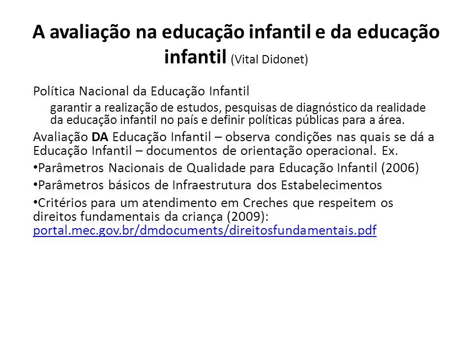 A avaliação na educação infantil e da educação infantil (Vital Didonet) Política Nacional da Educação Infantil garantir a realização de estudos, pesquisas de diagnóstico da realidade da educação infantil no país e definir políticas públicas para a área.