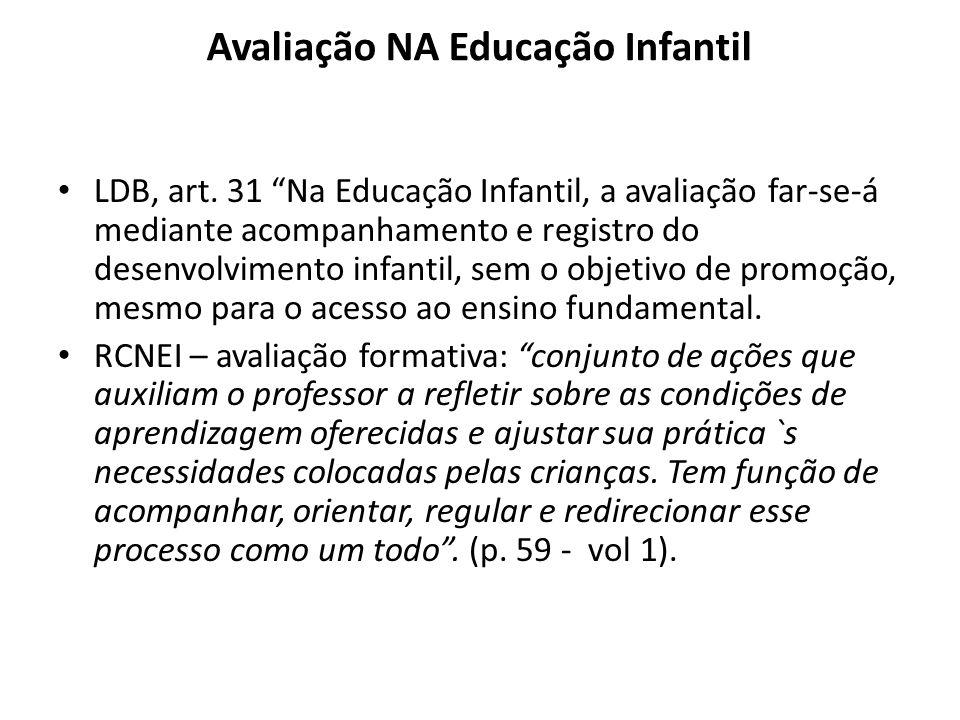 """Avaliação NA Educação Infantil LDB, art. 31 """"Na Educação Infantil, a avaliação far-se-á mediante acompanhamento e registro do desenvolvimento infantil"""